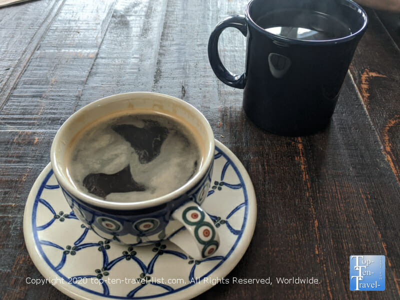 Great Americano and house coffee at Gryphon Cafe in downtown Wayne, Pennsylvania