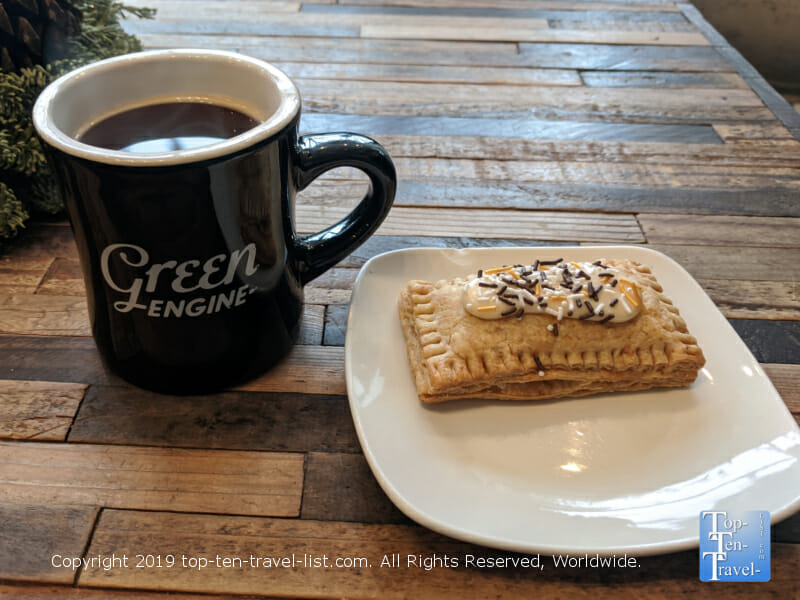 Delicious house coffee and homemade pastry at Green Engine Coffee in Haverford, Pennsylvania