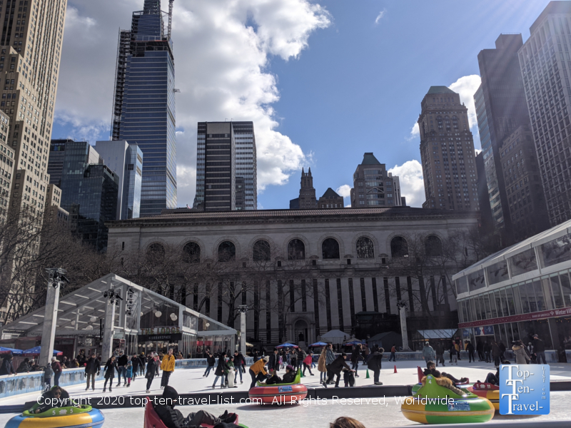 Free ice skating at Bryant Park in New York City