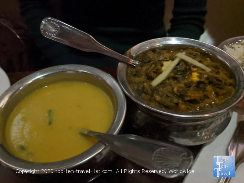 Delicious Saag Paneer and Mulligatawny soup at Bombay Tiger Indian restaurant in New York City