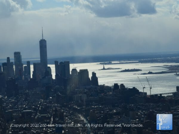 Statue of Liberty in the distance via the Empire State building 86th floor observatory