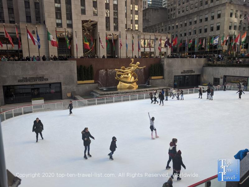 The Rockefeller Center ice rink in New York City