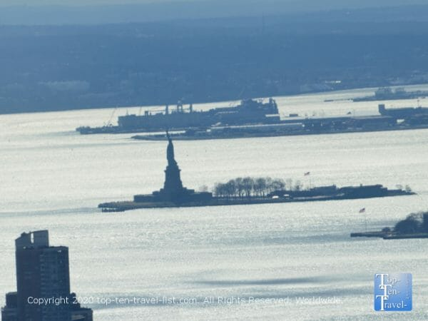 Beautiful view of the Statue of Liberty via the Empire State building observation deck