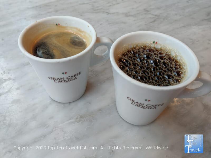 Excellent Italian coffee at Gran Caffe L'Aquila in Center City Philadelphia