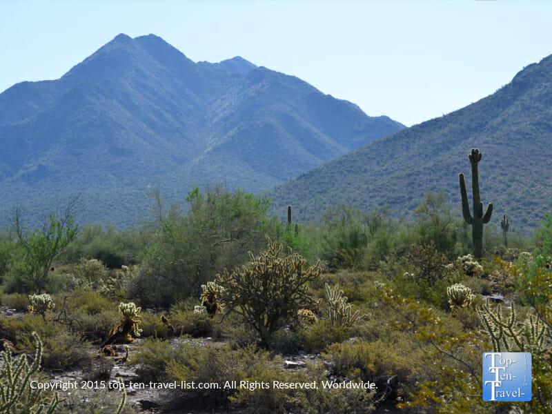 Gorgeous mountain scenery at McDowell Sonoran Preserve in Scottsdale, Arizona