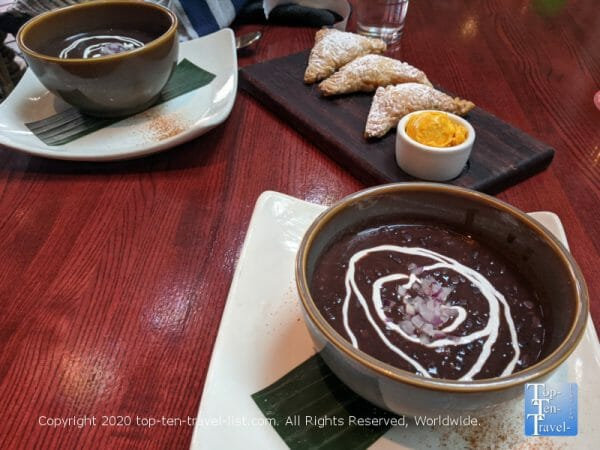 Black bean soup and pastelitos at Cuba Libre in Old City Philadelphia