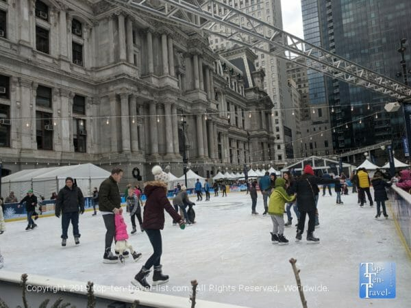 Ice skating at Dilworth Park in Center City Philadelphia