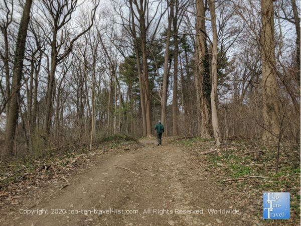 Hiking a trail at Wissahickon Valley Park in Philadelphia