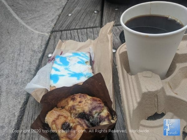Homemade poptart and muffin, La Colombe coffee at Bakeshop on 20th in Center City Philadelphia
