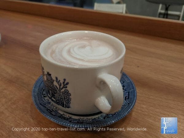 Delicious hot chocolate at Methodical Coffee in Greenville, South Carolina