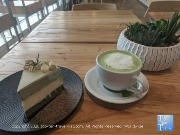 Delicious matcha green tea latte and cheesecake at A La Mousse in Narberth, PA