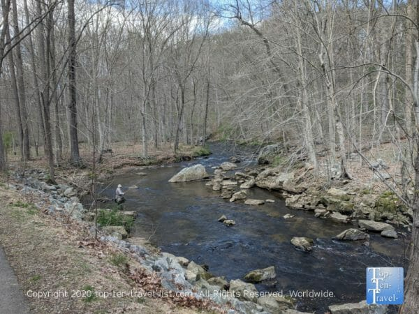 Picturesque creek scenery at Ridley Creek State Park in Media, PA