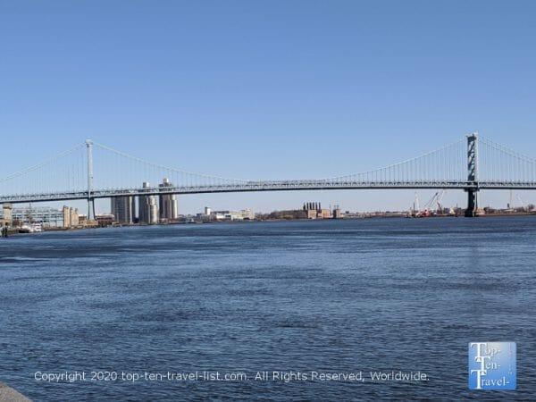 Great views of the Benjamin Franklin bridge from Penn's Landing in Old City Philadelphia