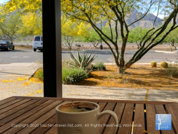 Scenic mountain views at Savaya Coffee in Oro Valley, Arizona