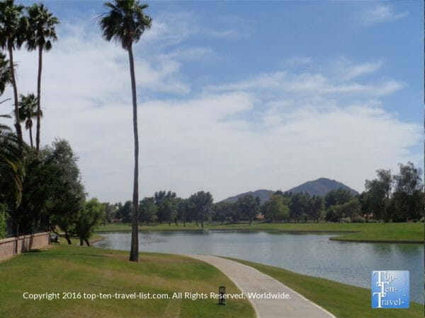Gorgeous water scenery along the Indian Bend Greenbelt in Scottsdale, Arizona