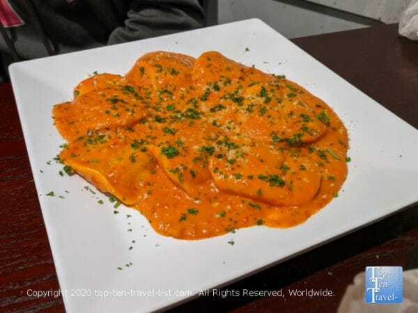 Delicious butternut squash ravioli at Dino's Pizza & Pasta in East Bridgeport, PA