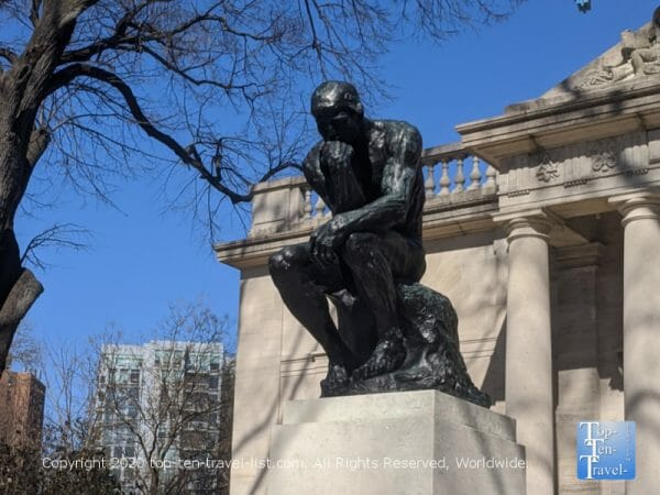 The iconic Thinker Sculpture by Rodin at The Rodin Museum in Philadelphia
