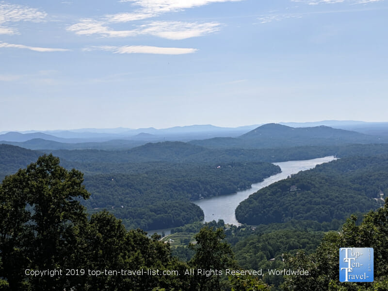 Scenic vista of the Blue Ridge mountains and Lake Lure from Chimney Rock State Park in North Carolina