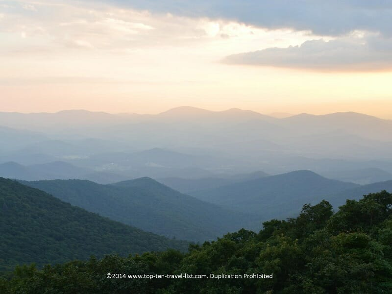 Scenic views of the Blue Ridge mountains from Brasstown Bald, the highest point of Georgia