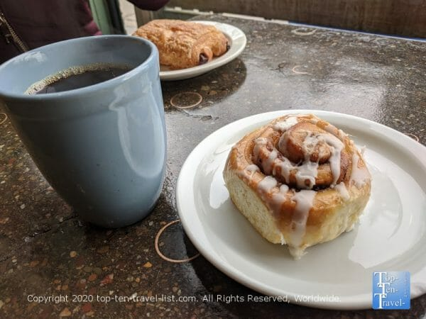 Tasty drip coffee and a delicious cinnamon roll at High Point Cafe in Mt. Airy Philadelphia