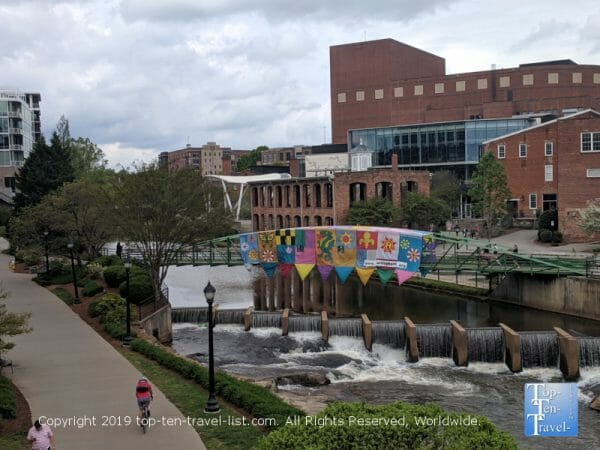 Great views of the Reedy River via riverwalk in downtown Greenville