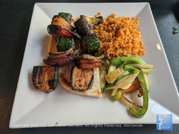 Veggie kabob lunch special at Isot Mediterranean restaurant in Philadelphia