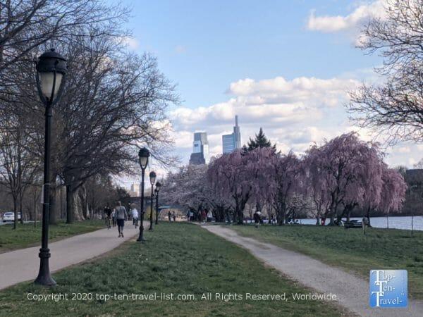 A beautiful bike ride along the Schuylkill River in Philadelphia during cherry blossom season.