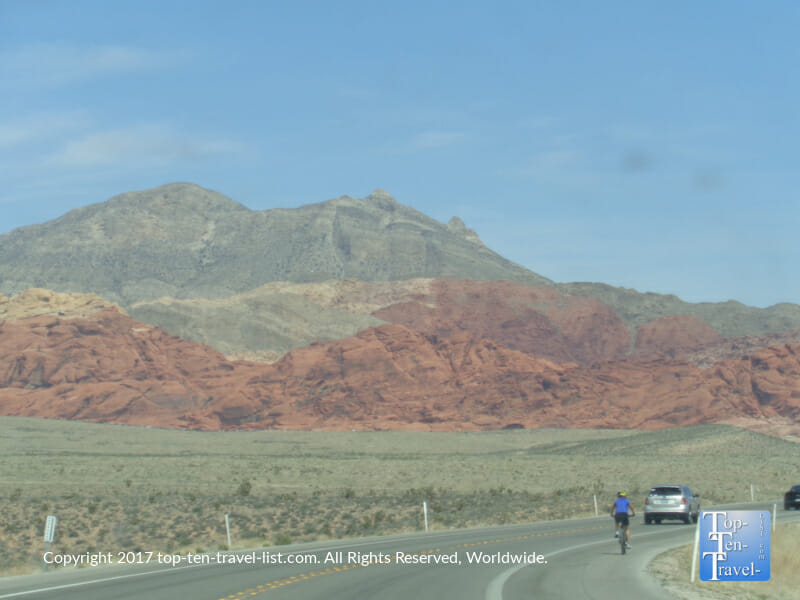 Gorgeous red rock scenery via the Scenic Loop bike path/drive at Red Rock Canyon in Las Vegas, Nevada
