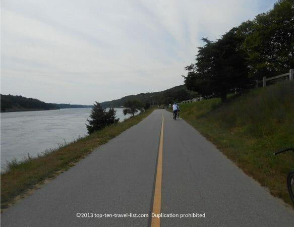 The beautiful Cape Cod Canal bike path in Buzzards Bay Massachusetts
