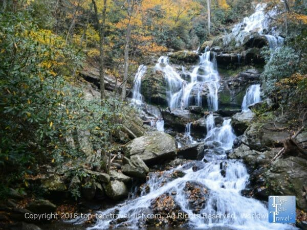 Beautiful fall foliage surrounding Catawba Falls in Western North Carolina