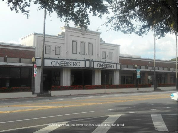 Cinebistro dine-in theater at Hyde Park Village in Tampa, Florida