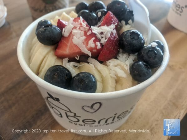 Delicious acai bowl at Raining Berries in Tampa, Florida