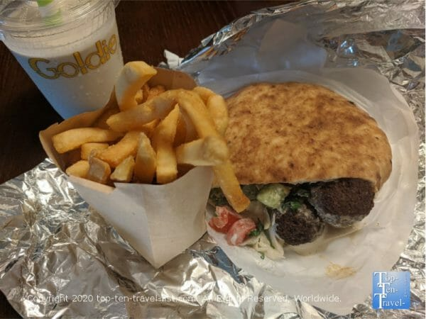 Amazing falafel pita, fries, and vegan tehina shake at Goldie in Philadelphia