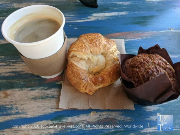 Americano and pastries at Indian Shores Coffee Company on Florida's Gulf Coast