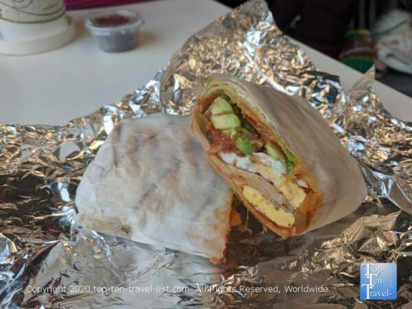 Breakfast burrito at Waterfront Gourmet Cafe & Deli in Center City Philadelphia