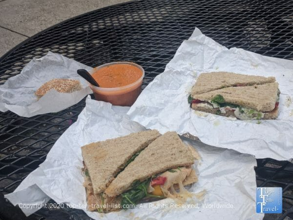 Delicious sandwiches and tomato basil soup at the Couch Tomato Bistro in Philadelphia
