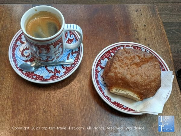 Amazing Americano and chocolate croissant at La Colombe coffee in Old City Philadelphia
