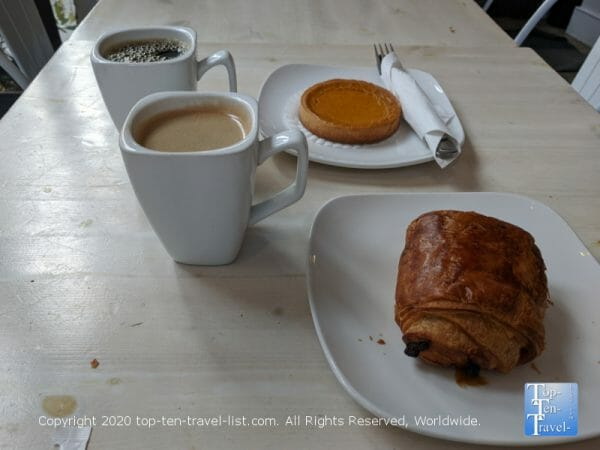 Coffee, pumpkin tart, and chocolate croissant at J'aime French Bakery in Center City Philadelphia