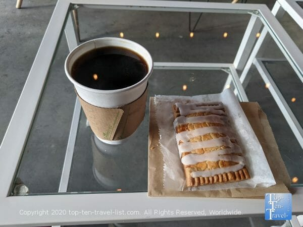 Delicious gluten-free poptart and drip coffee at Buttermilk Provisions in Wesley Chapel, Florida