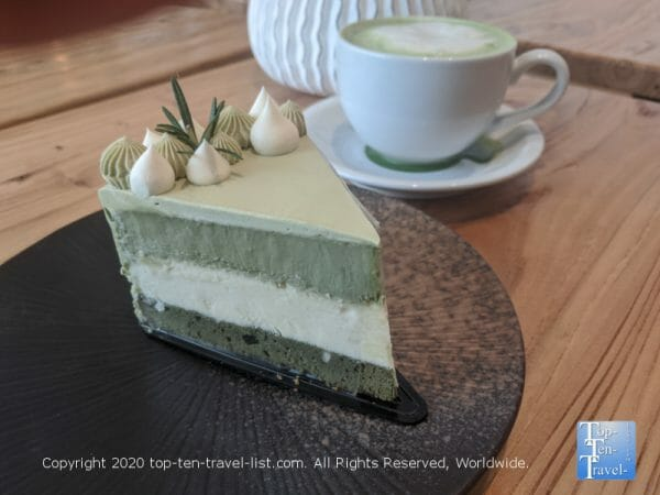 Double matcha cheesecake at A La Mousse in Philadelphia