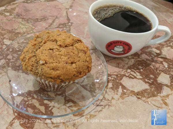 Vegan muffin and delicious house coffee at Old City Coffee in Center City Philadelphia