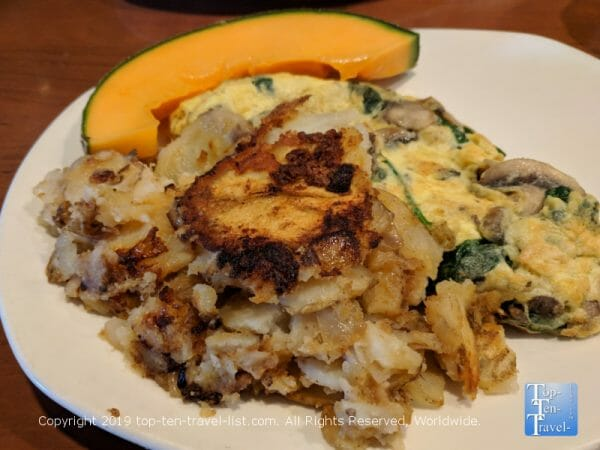 Delicious veggie omelet at Stax Omega diner in Greenville, South Carolina