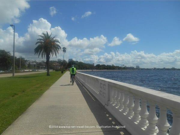 Biking the Bayshore Blvd path in downtown Tampa, Florida