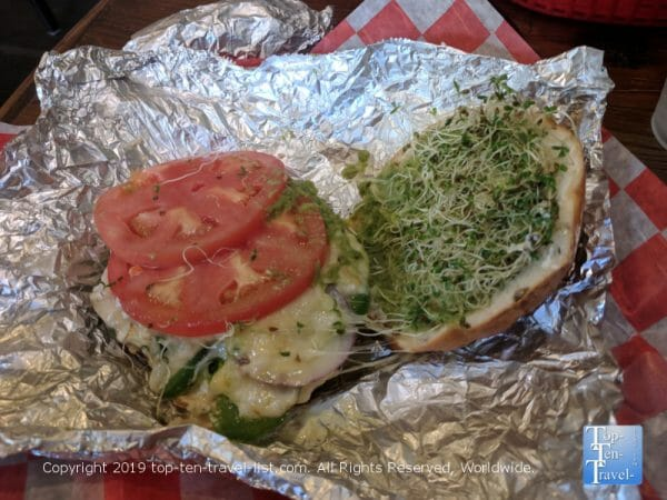 Delicious gluten-free bagel sandwich at Sully's Steamers in Greenville, South Carolina