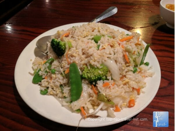 Veggie fried rice at Lieu's Chinese Bistro in Greenville, South Carolina