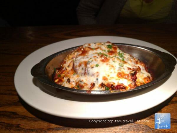 Veggie lasagna at Portofino's in Greenville, South Carolina