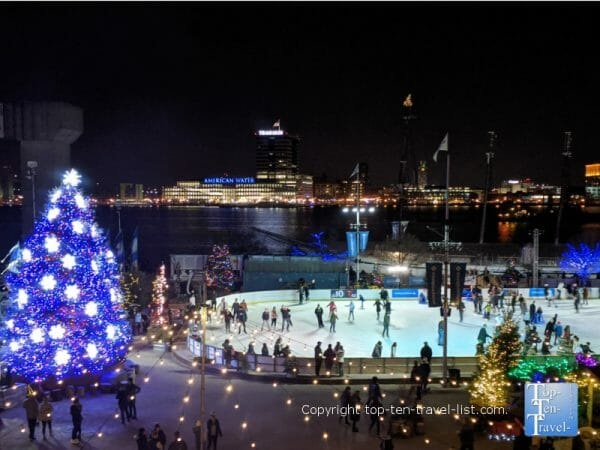 Beautiful waterfront ice rink at Penn's Landing in Old City Philadelphia