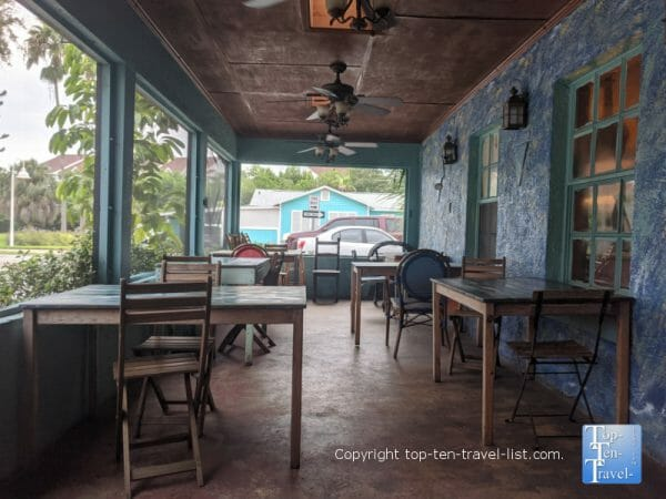 Beautiful covered patio at Indian Shores Coffee Company in Indian Rocks Beach, Florida