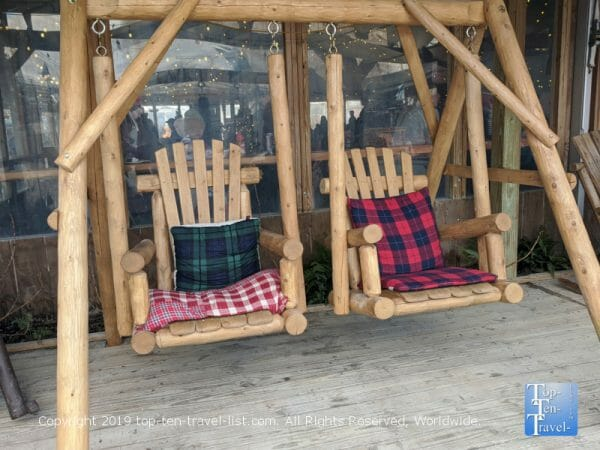 Cozy rocking chairs at Winterfest in Philadelphia