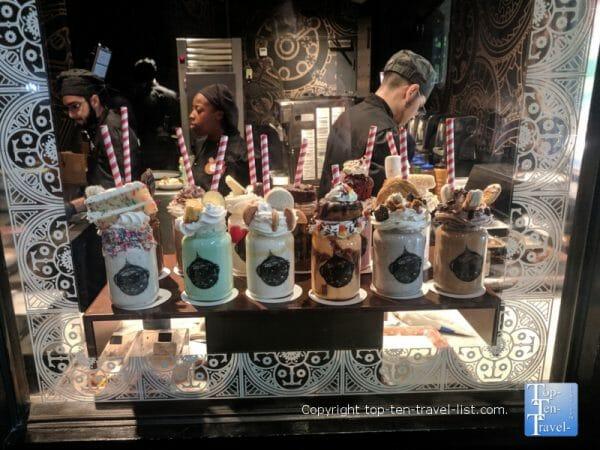 Crazy milkshakes at the Toothsome Chocolate Emporium at Universal Citywalk in Orlando, Florida